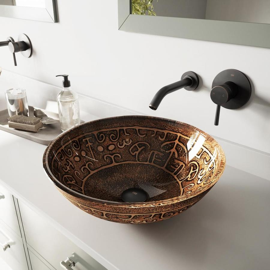 VIGO Glass Sink and Vessel Faucet Set Golden Greek Glass Vessel Bathroom Sink with Faucet (Drain Included)