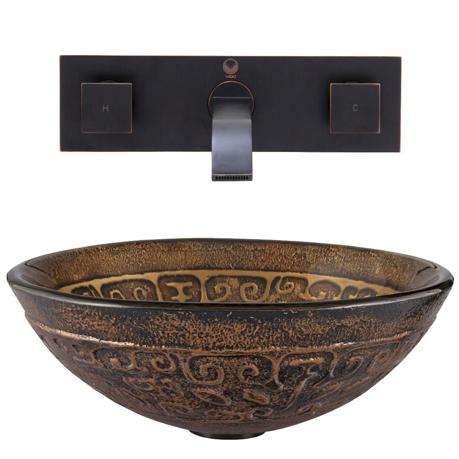 Set Tub Sink : Sink and Vessel Faucet Set Golden Greek Glass Vessel Bathroom Sink ...