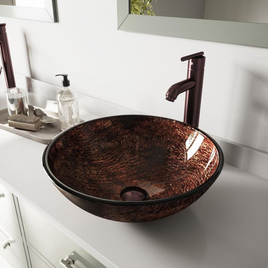 VIGO Glass Sink and Vessel Faucet Set Kenyan Twilight Glass Vessel Bathroom Sink with Faucet (Drain Included)
