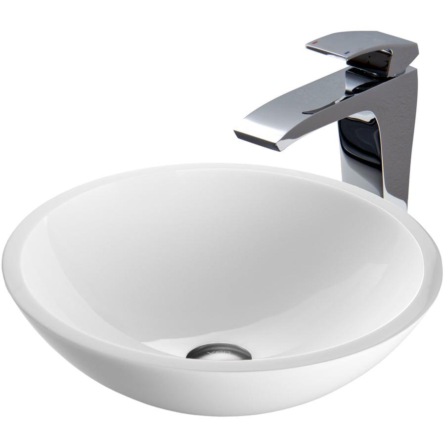 Vigo Sinks : VIGO Glass Sink and Vessel Faucet Set White Glass Vessel Bathroom Sink ...