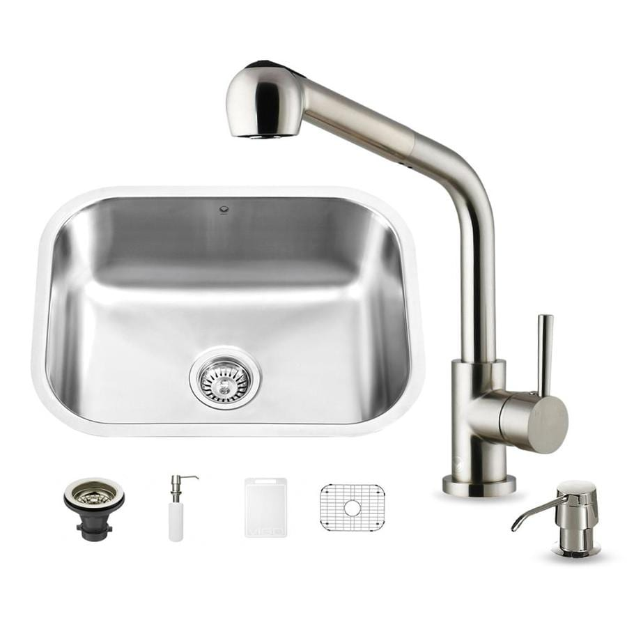 VIGO 23-in x 17.75-in Stainless Steel Single-Basin Undermount 1-Hole Commercial Kitchen Sink All-In-One Kit