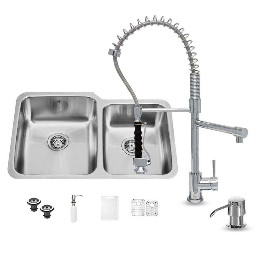 VIGO 32-in x 20.75-in Stainless Steel Double-Basin Undermount 1-Hole Kitchen Sink All-In-One Kit