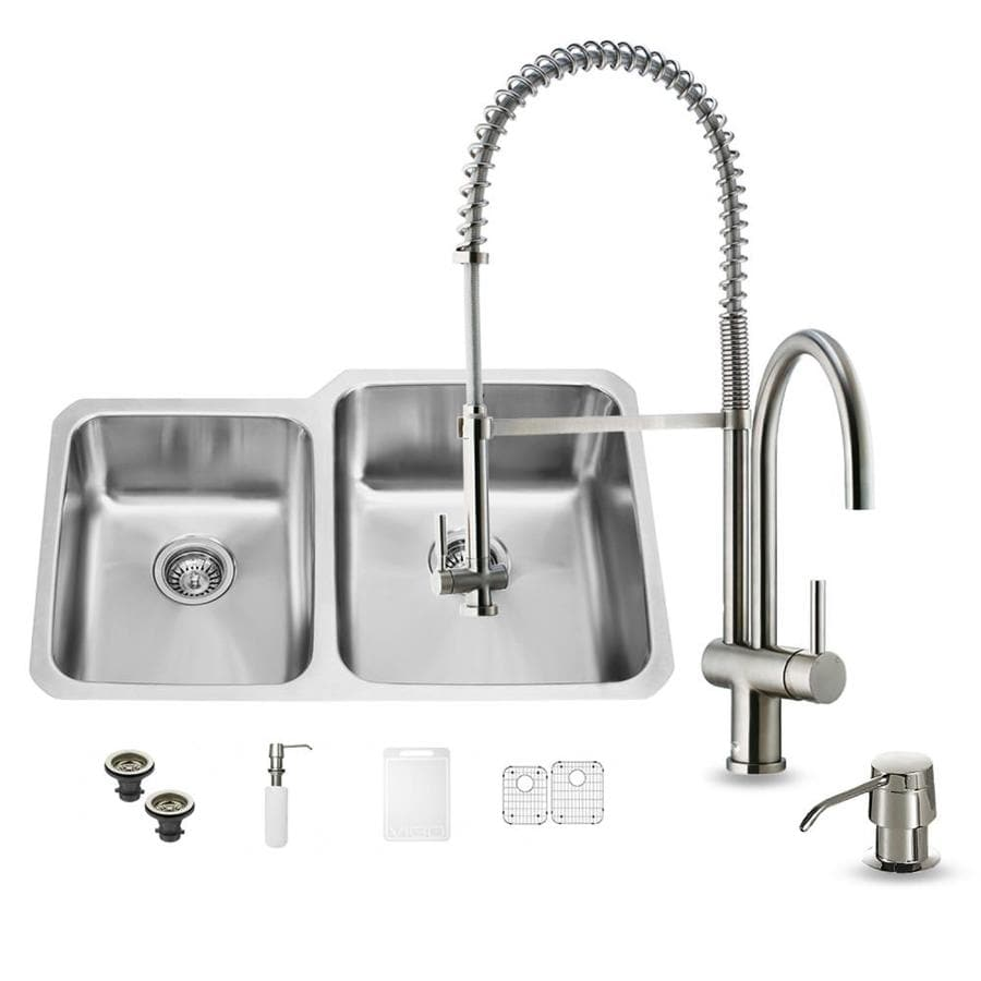 VIGO 32-in x 20.75-in Stainless Steel Double-Basin Undermount 1-Hole Commercial Kitchen Sink All-In-One Kit