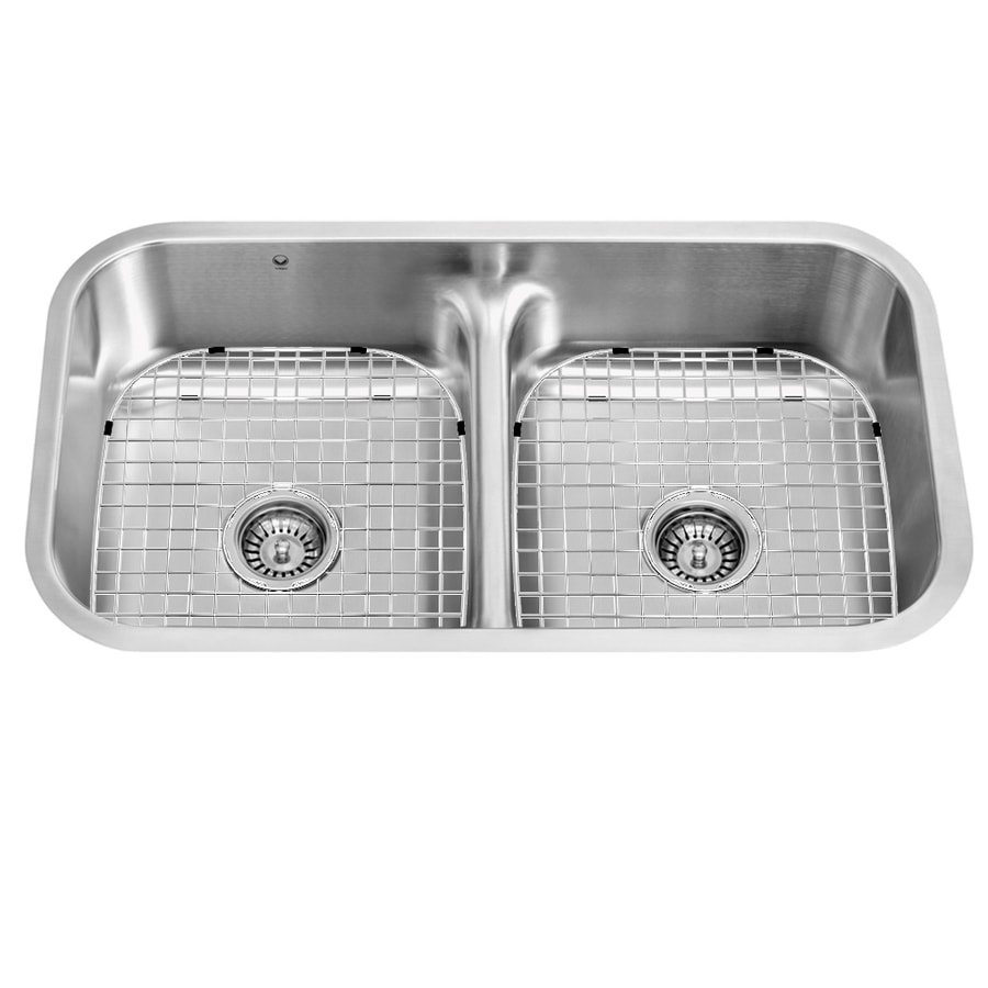 VIGO 32.5-in x 18.25-in Stainless Steel Double-Basin Undermount 1-Hole Commercial Kitchen Sink