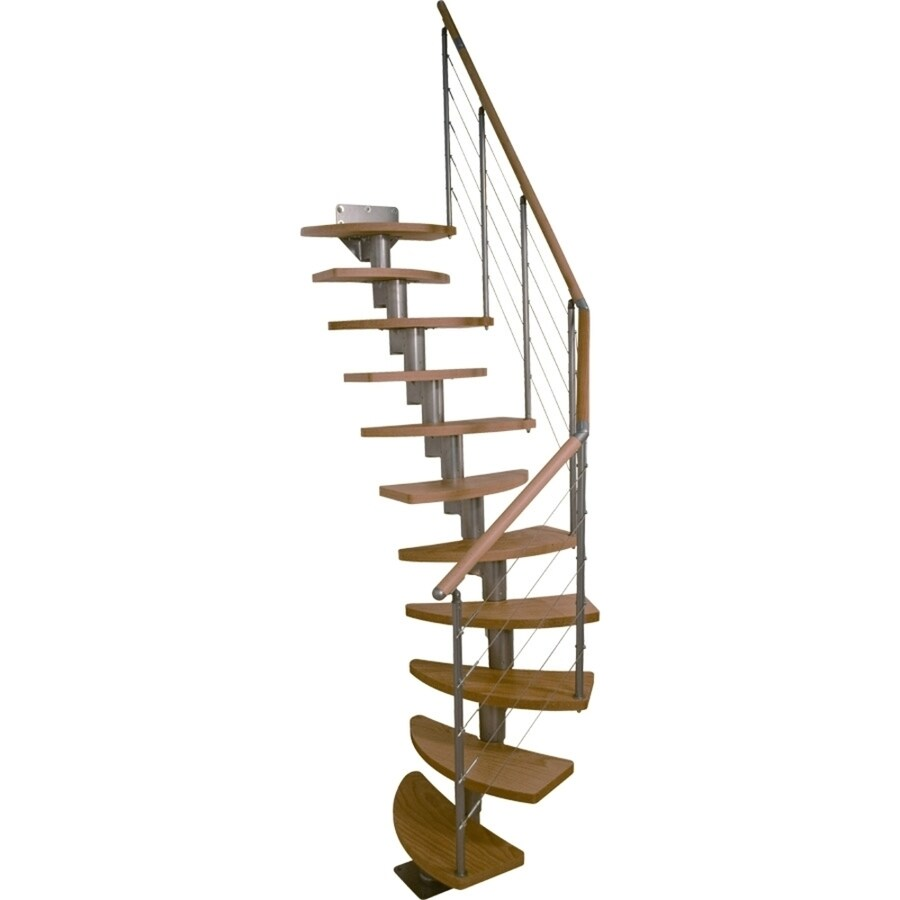 DOLLE Rome 10-ft Grey with Wood Treads Modular Staircase Kit