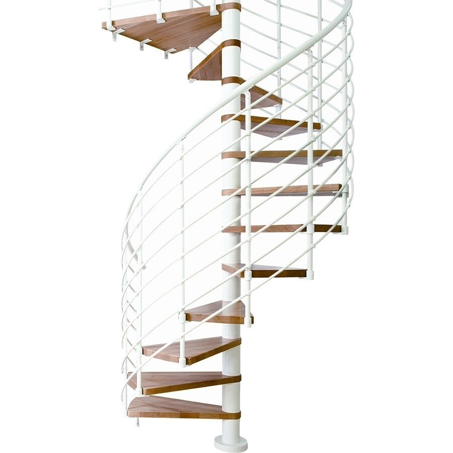 DOLLE Oslo 63-in x 9-ft White with Wood Treads Spiral Staircase Kit