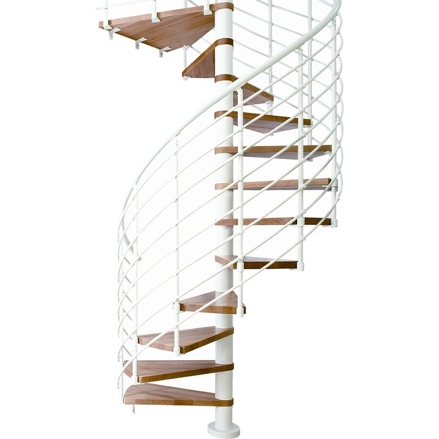 DOLLE Oslo 63-in x 11-ft White with Wood Treads Spiral Staircase Kit