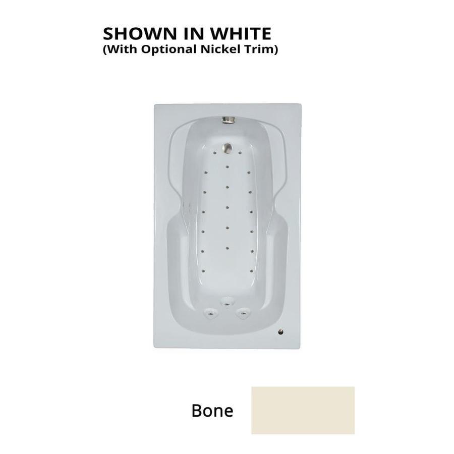 Watertech Whirlpool Baths 59.5-in L x 35.75-in W x 21-in H Bone Acrylic Rectangular Drop-in Air Bath