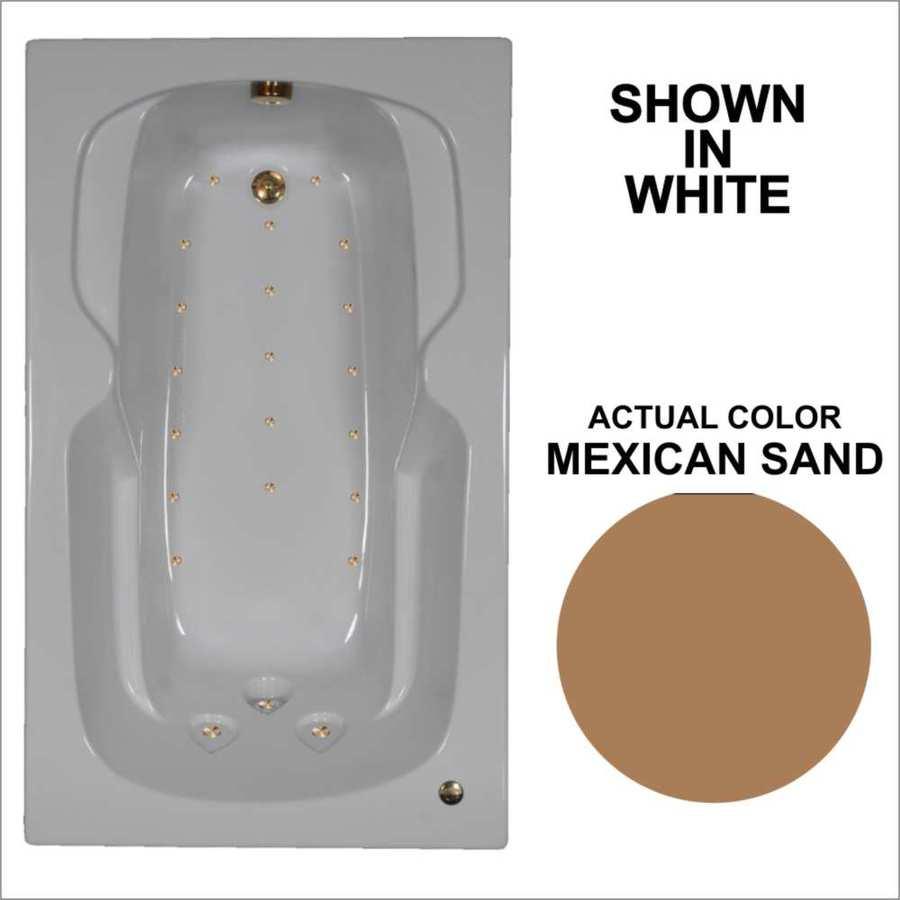 Watertech Whirlpool Baths 59.5-in L x 35.75-in W x 21-in H Mexican Sand Acrylic Rectangular Drop-in Air Bath