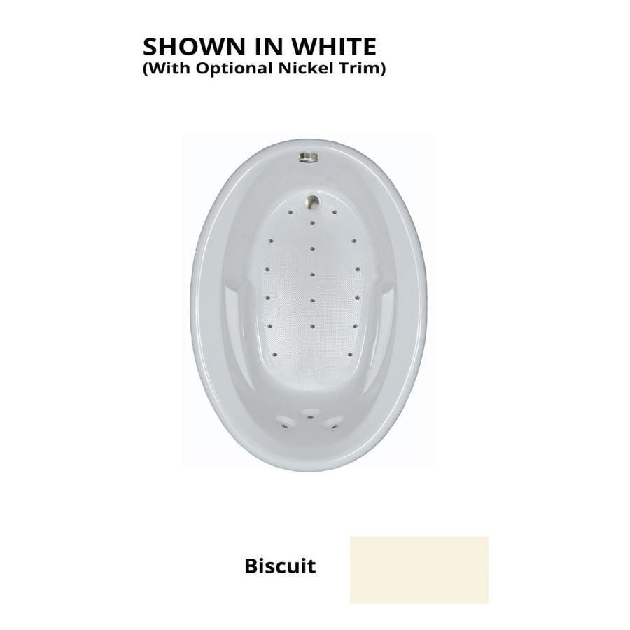 Watertech Whirlpool Baths 59.625-in L x 41.5-in W x 20.5-in H Biscuit Acrylic Oval Drop-in Air Bath