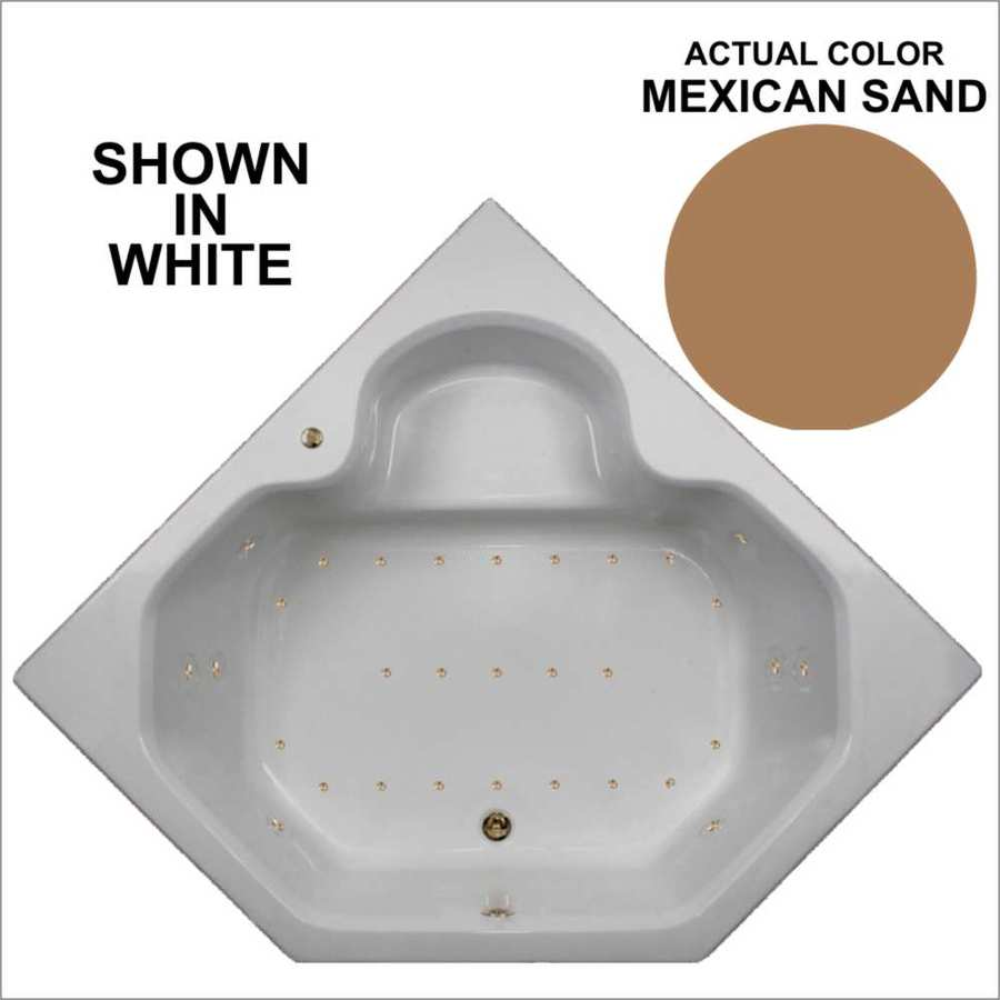 Watertech Whirlpool Baths 59.5-in L x 59.5-in W x 21-in H Mexican Sand Acrylic 2-Person Corner Drop-in Air Bath