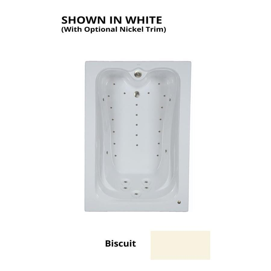 Watertech Whirlpool Baths Elite 59.75-in L x 41.5-in W x 22.875-in H Biscuit Acrylic Rectangular Drop-in Air Bath