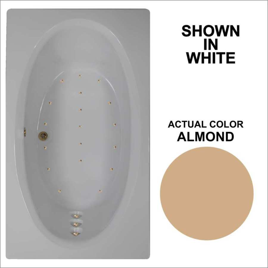 Watertech Whirlpool Baths 71.625-in L x 41.75-in W x 21.75-in H Almond Acrylic Oval In Rectangle Drop-in Air Bath