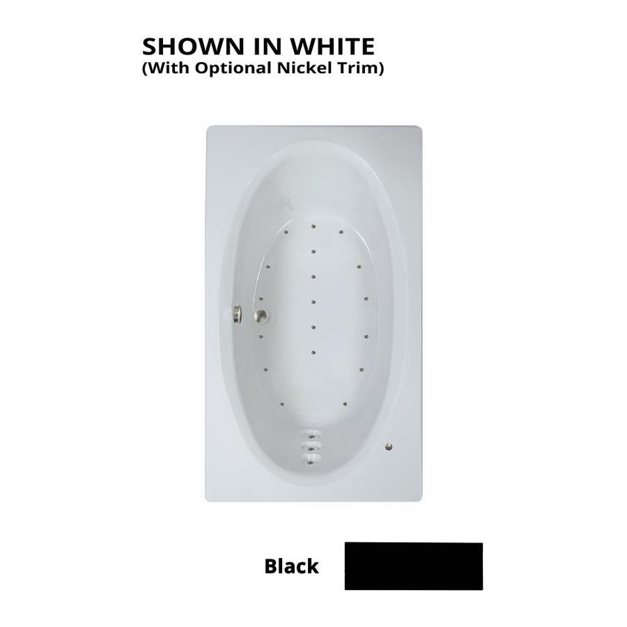 Watertech Whirlpool Baths 71.625-in L x 41.75-in W x 21.75-in H Black Acrylic Oval In Rectangle Drop-in Air Bath