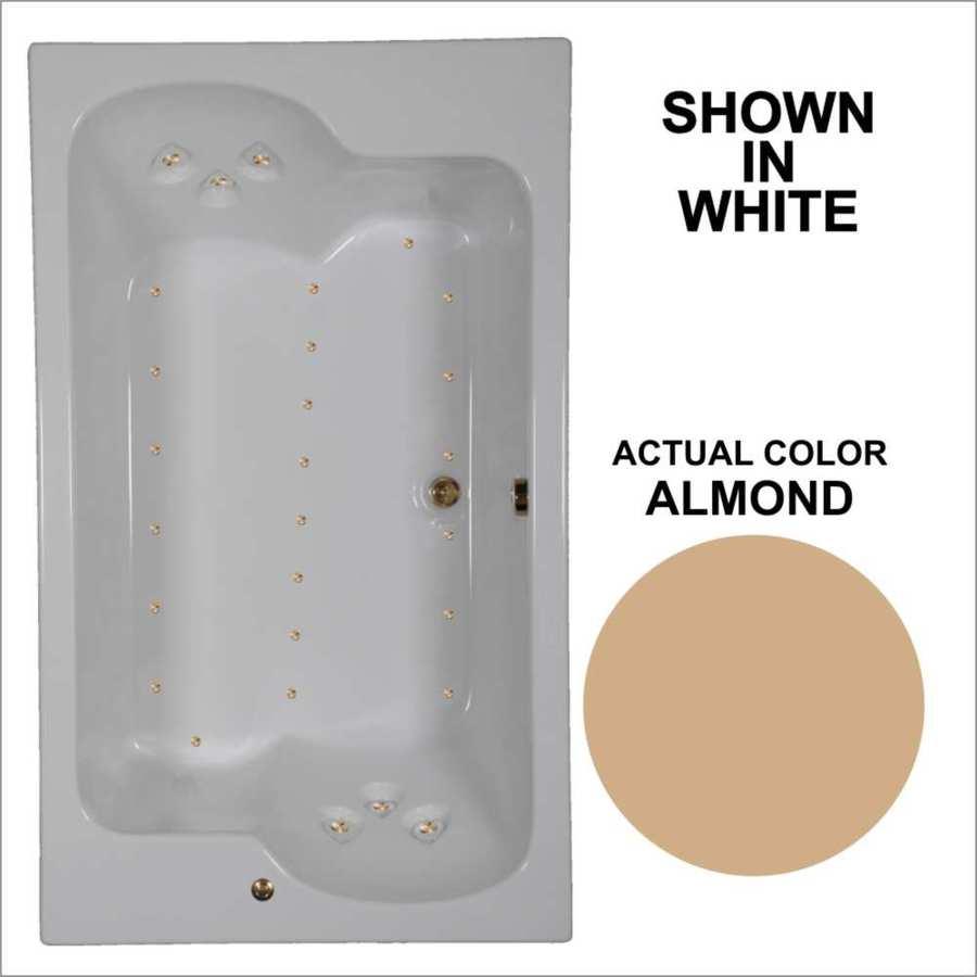 Watertech Whirlpool Baths 71.75-in L x 42.625-in W x 24.5-in H Almond Acrylic 2-Person Rectangular Drop-in Air Bath
