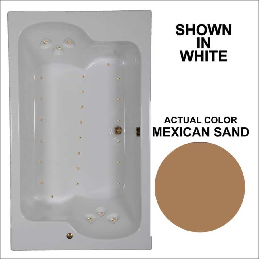 Watertech Whirlpool Baths 71.75-in L x 42.625-in W x 24.5-in H Mexican Sand Acrylic 2-Person Rectangular Drop-in Air Bath