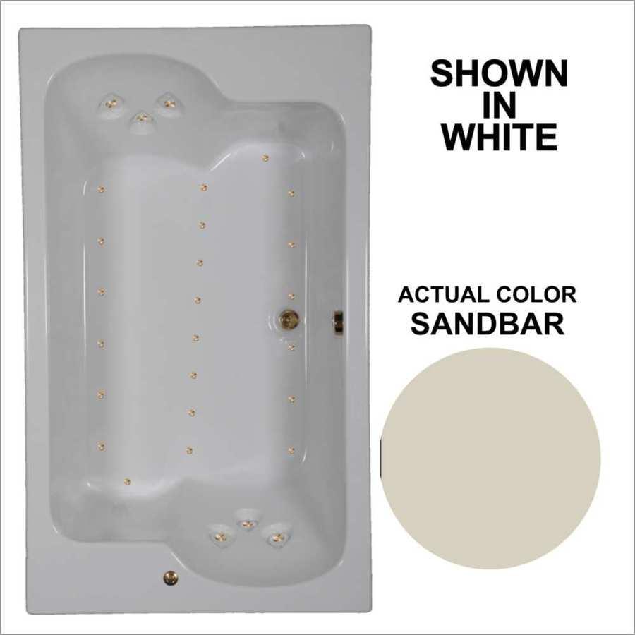 Watertech Whirlpool Baths 71.75-in L x 42.625-in W x 24.5-in H Sandbar Acrylic 2-Person Rectangular Drop-in Air Bath