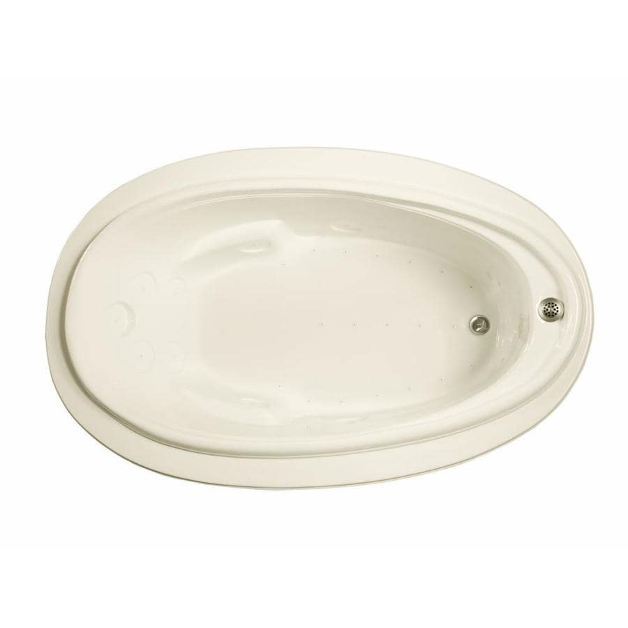 Watertech Whirlpool Baths 70.875-in L x 44.25-in W x 22.25-in H Biscuit Acrylic Oval Drop-in Air Bath