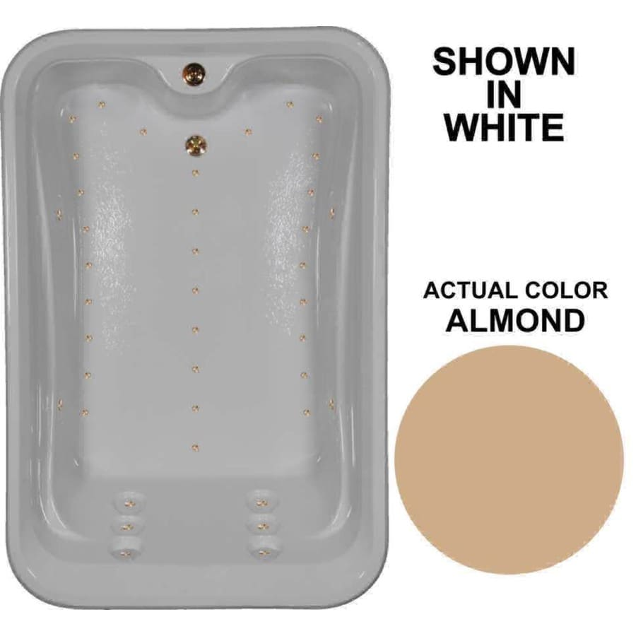 Watertech Whirlpool Baths 72-in L x 48-in W x 22.5-in H Almond Acrylic 2-Person Rectangular Drop-in Air Bath