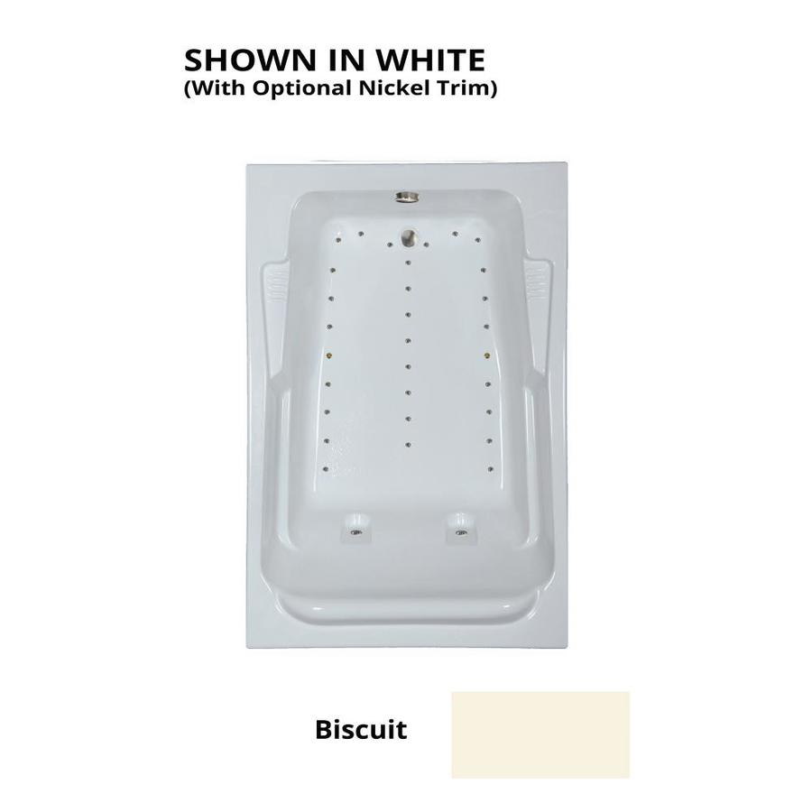 Watertech Whirlpool Baths 72-in L x 48-in W x 22.5-in H Biscuit Acrylic 2-Person Rectangular Drop-in Air Bath