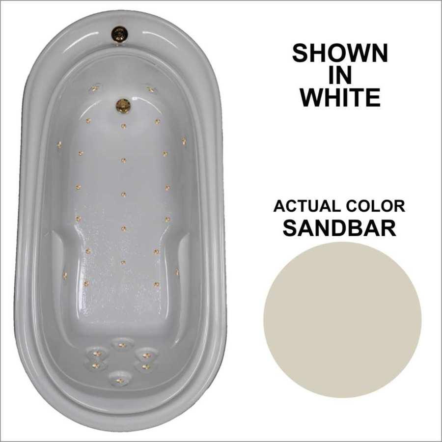 Watertech Whirlpool Baths 72-in L x 36.75-in W x 22.75-in H Sandbar Acrylic Oval Drop-in Air Bath