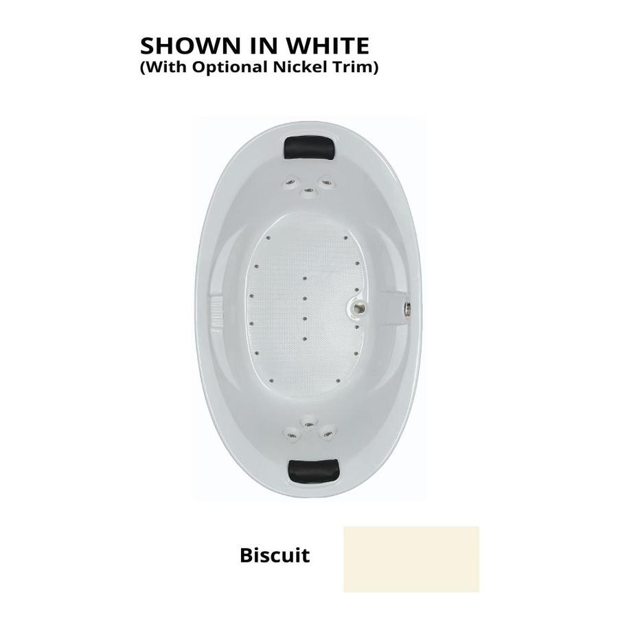 Watertech Whirlpool Baths 72.75-in L x 44.875-in W x 23-in H Biscuit Acrylic 2-Person Oval Drop-in Air Bath