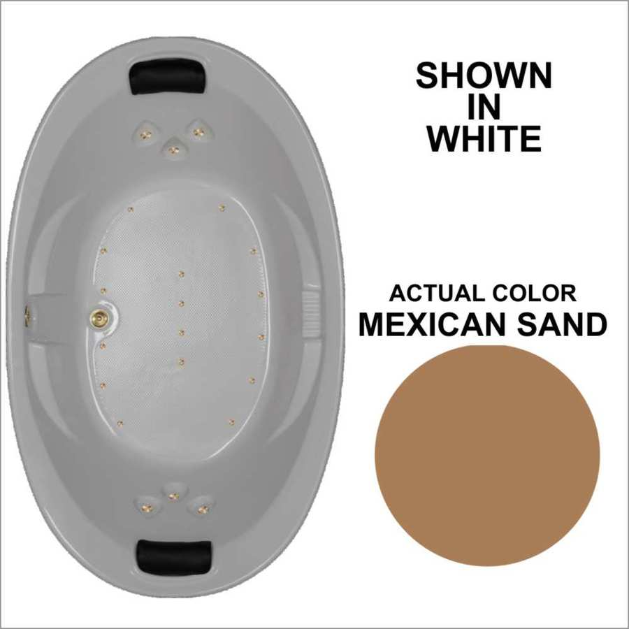 Watertech Whirlpool Baths 72.75-in L x 44.875-in W x 23-in H Mexican Sand Acrylic 2-Person Oval Drop-in Air Bath