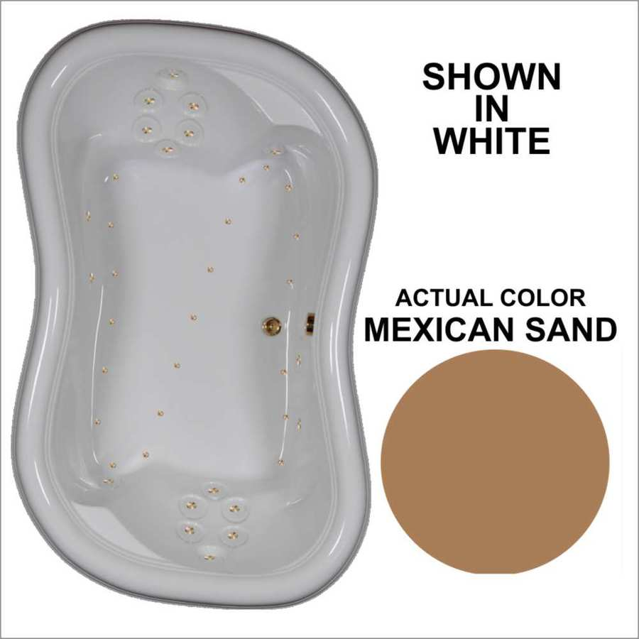Watertech Whirlpool Baths 78-in L x 52-in W x 26.375-in H Mexican Sand Acrylic 2-Person Hourglass Drop-in Air Bath