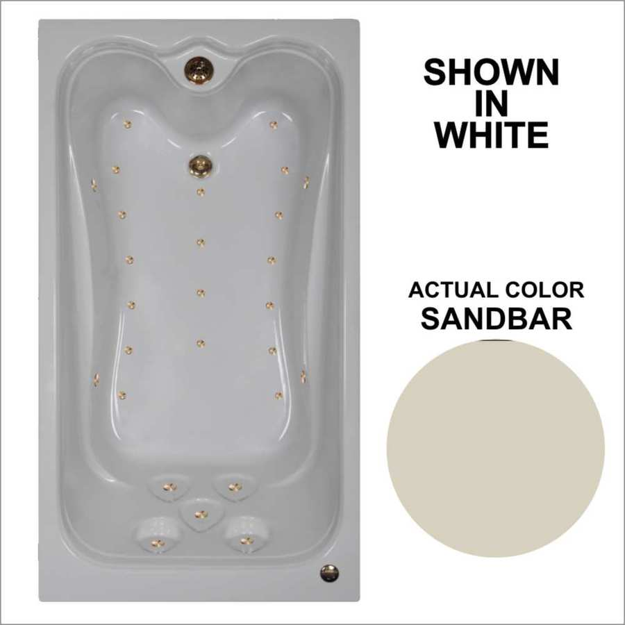 Watertech Whirlpool Baths Elite 59.875-in L x 31.625-in W x 23.75-in H Sandbar Acrylic Rectangular Drop-in Air Bath