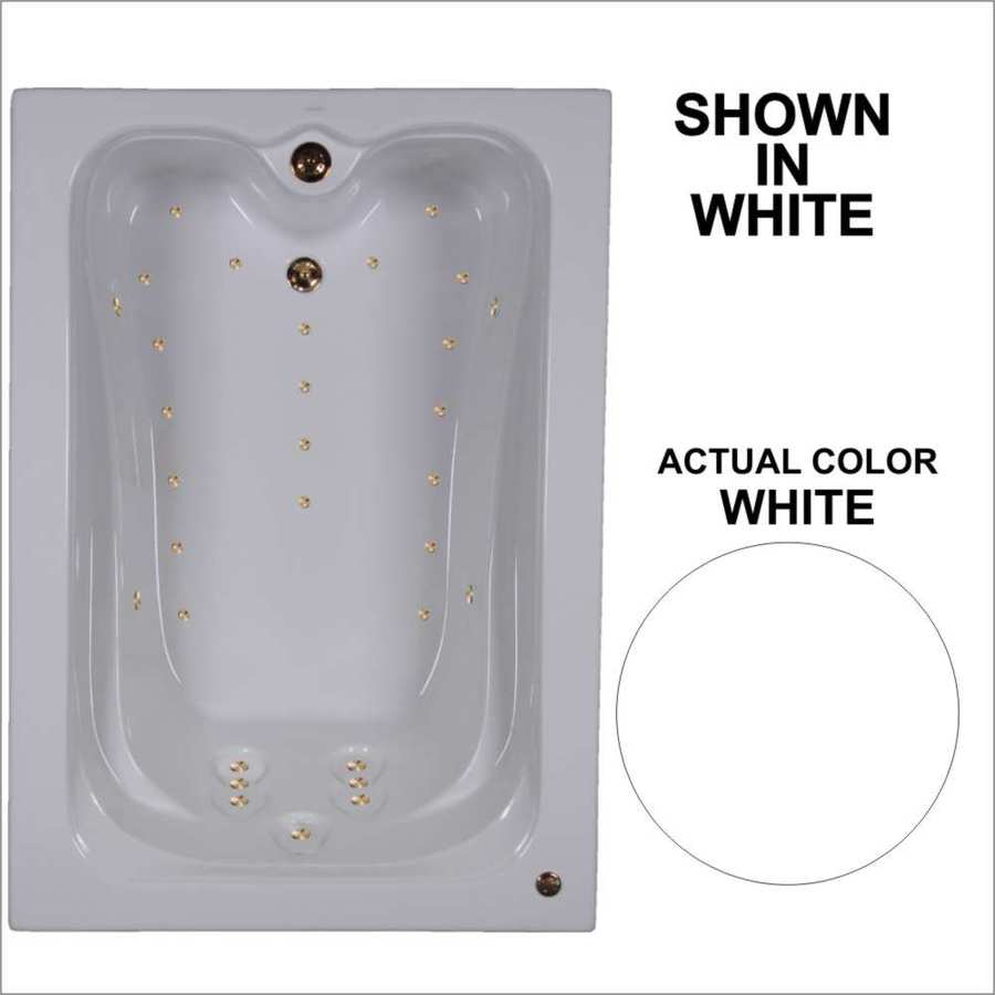 Watertech Whirlpool Baths Elite 59.75-in L x 41.5-in W x 22.875-in H White Acrylic Rectangular Drop-in Air Bath