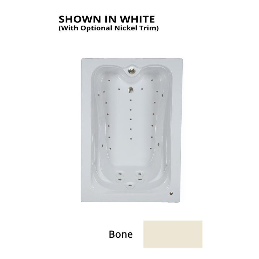 Watertech Whirlpool Baths Elite 59.75-in L x 41.5-in W x 22.875-in H Bone Acrylic Rectangular Drop-in Air Bath