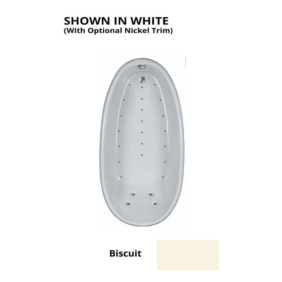 Watertech Whirlpool Baths 72.25-in L x 36-in W x 24-in H Biscuit Acrylic Oval Drop-in Air Bath