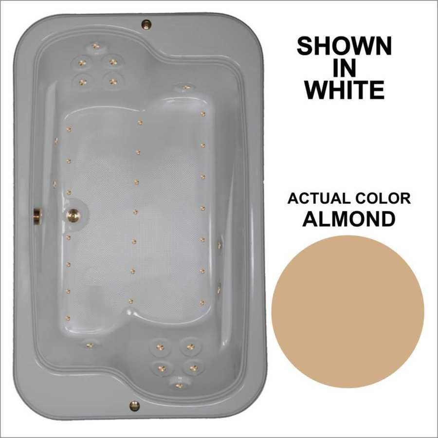 Watertech Whirlpool Baths 71.5-in L x 44.5-in W x 25.375-in H Almond Acrylic 2-Person Rectangular Drop-in Air Bath