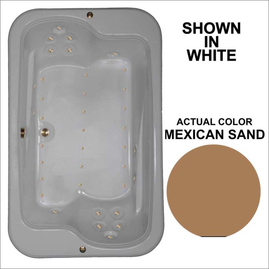 Watertech Whirlpool Baths 71.5-in L x 44.5-in W x 25.375-in H Mexican Sand Acrylic 2-Person Rectangular Drop-in Air Bath