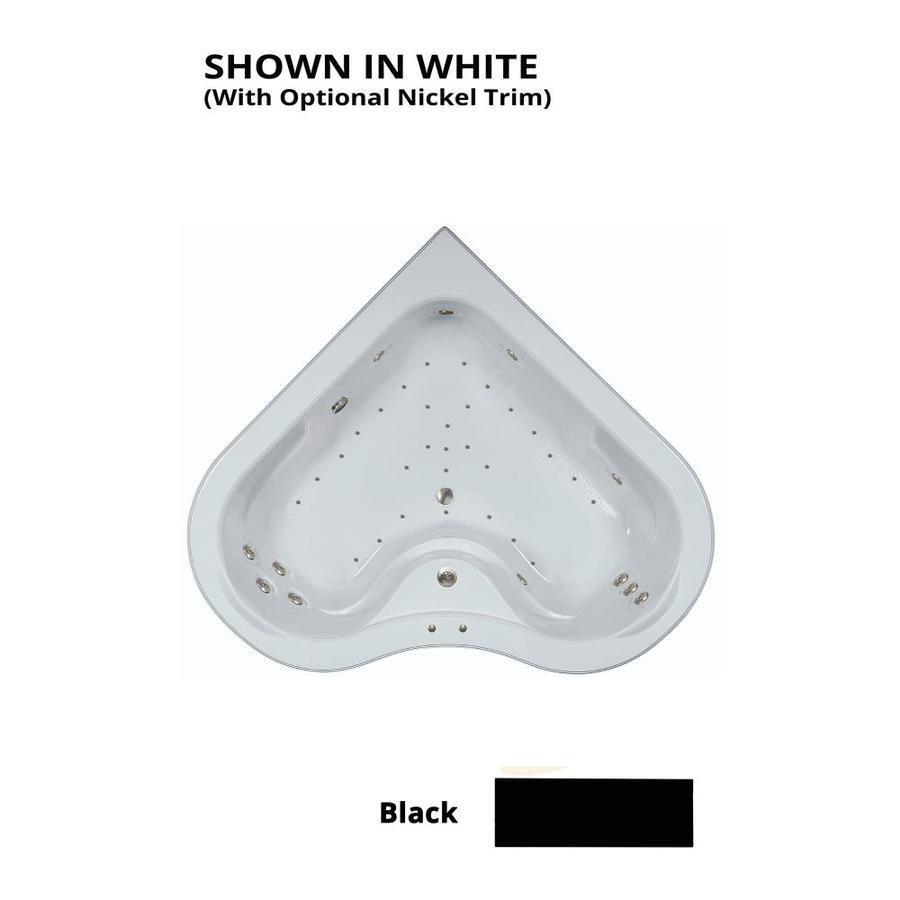 Watertech Whirlpool Baths Elite 64-in L x 64-in W x 21.5-in H 2-Person Black Acrylic Corner Drop-in Whirlpool Tub and Air Bath