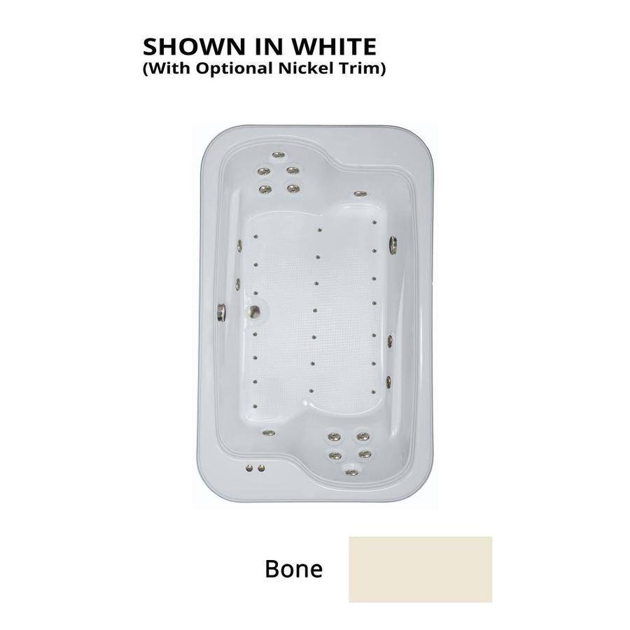 Watertech Whirlpool Baths Designer 72-in L x 45-in W x 25.375-in H 2-Person Bone Acrylic Rectangular Drop-in Whirlpool Tub and Air Bath