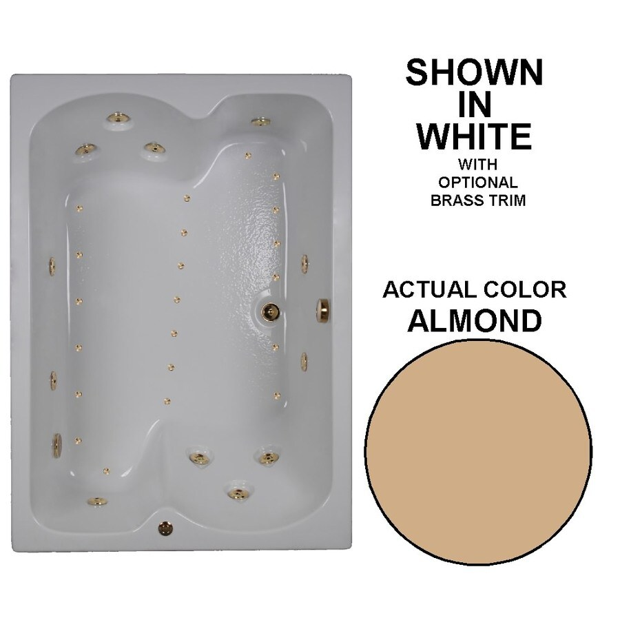 Watertech Whirlpool Baths Designer 60-in L x 43-in W x 23.25-in H Almond Acrylic Rectangular Drop-in Whirlpool Tub and Air Bath