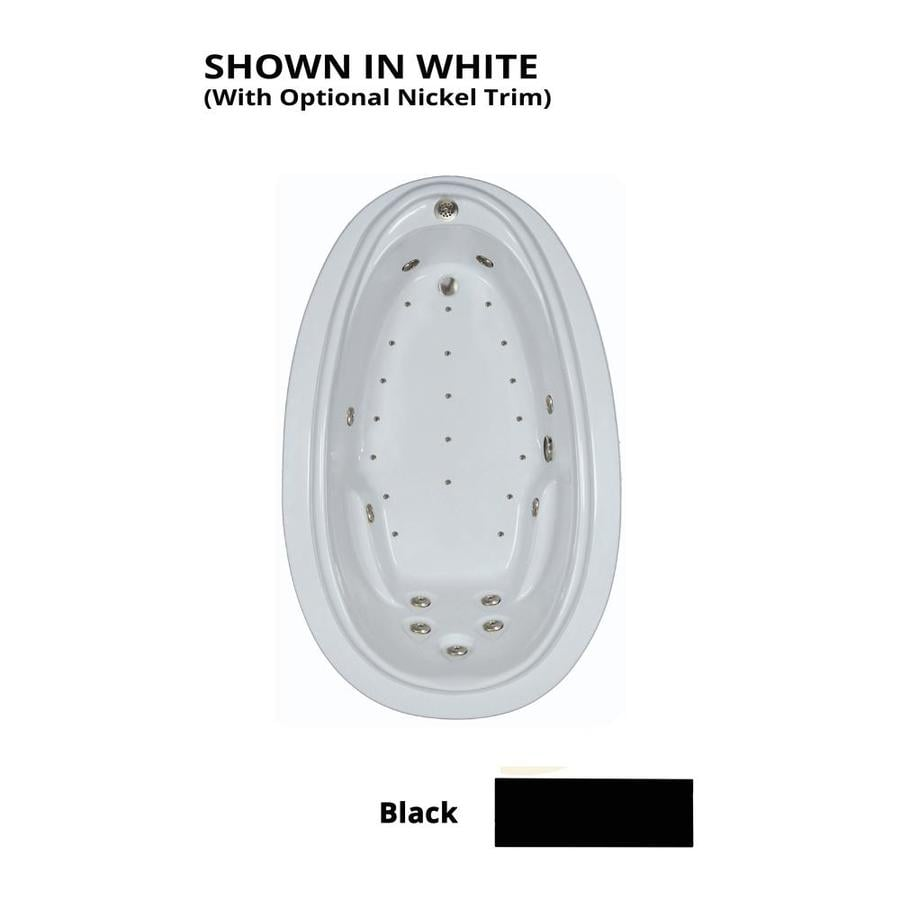Watertech Whirlpool Baths Elite 72-in L x 44-in W x 22.25-in H Black Acrylic Oval Drop-in Whirlpool Tub and Air Bath