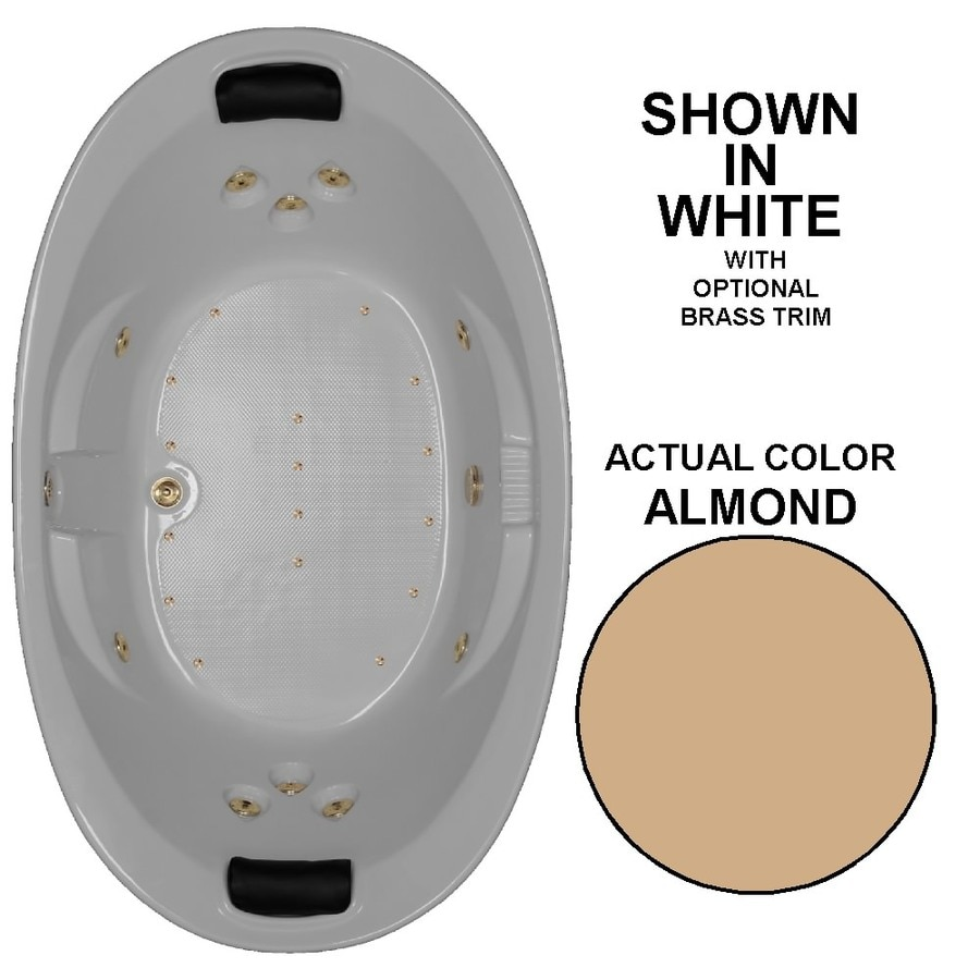 Watertech Whirlpool Baths Designer 73-in L x 44-in W x 23-in H 2-Person Almond Acrylic Oval Drop-in Whirlpool Tub and Air Bath