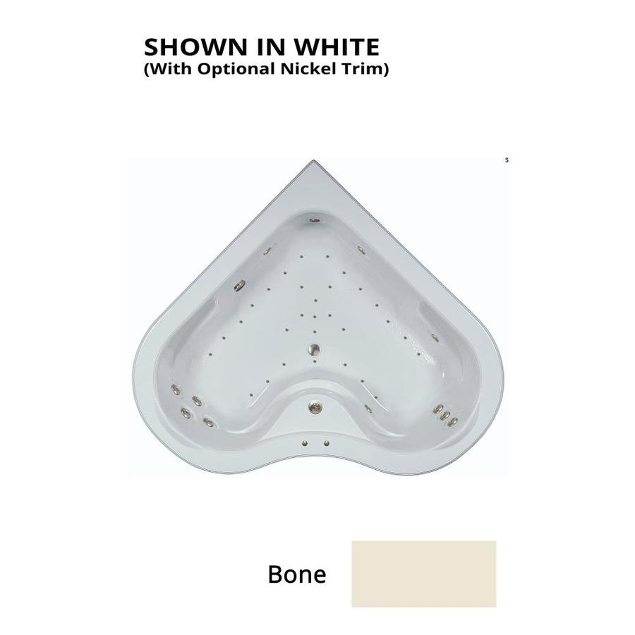 Watertech Whirlpool Baths Elite 64-in L x 64-in W x 21.5-in H 2-Person Bone Acrylic Corner Drop-in Whirlpool Tub and Air Bath