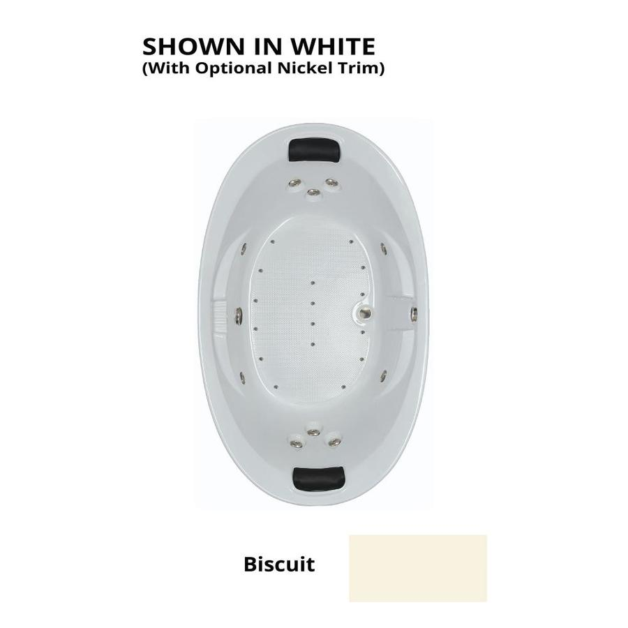 Watertech Whirlpool Baths Designer 73-in L x 44-in W x 23-in H Biscuit Acrylic Oval Drop-in Whirlpool Tub and Air Bath
