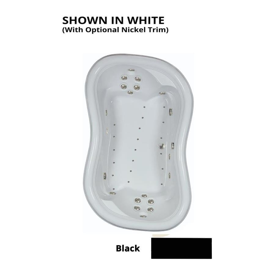 Watertech Whirlpool Baths Designer 78-in L x 52-in W x 26.75-in H 2-Person Black Acrylic Hourglass Drop-in Whirlpool Tub and Air Bath