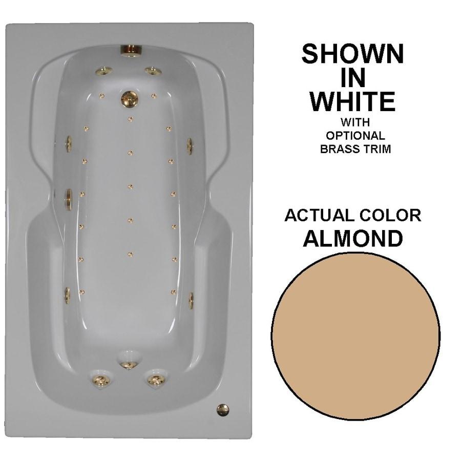 Watertech Whirlpool Baths Designer 60-in L x 36-in W x 21-in H Almond Acrylic Rectangular Drop-in Whirlpool Tub and Air Bath