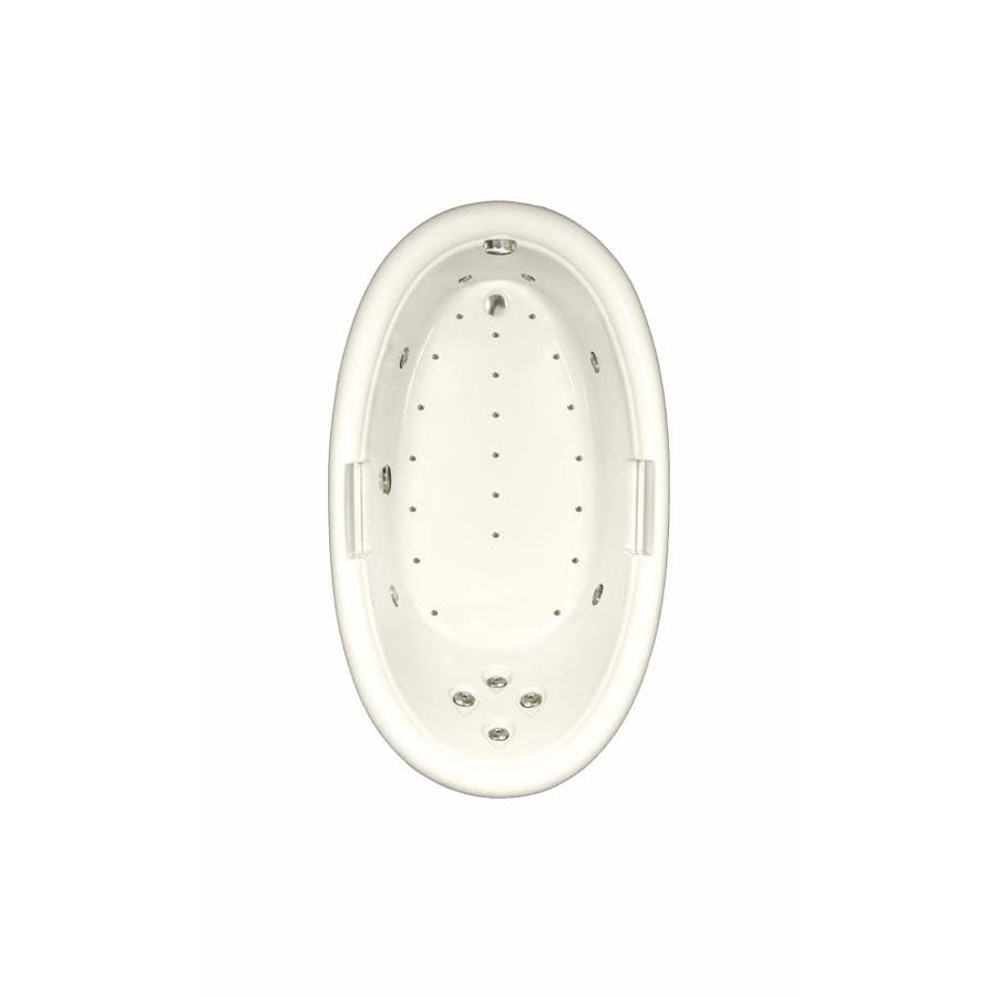 Watertech Whirlpool Baths Designer 72-in L x 42-in W x 22.25-in H Biscuit Acrylic Oval Drop-in Whirlpool Tub and Air Bath