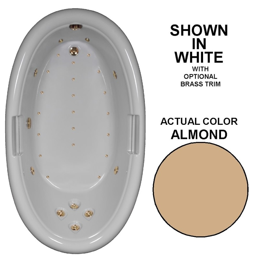 Watertech Whirlpool Baths Designer 72-in L x 42-in W x 22.25-in H Almond Acrylic Oval Drop-in Whirlpool Tub and Air Bath