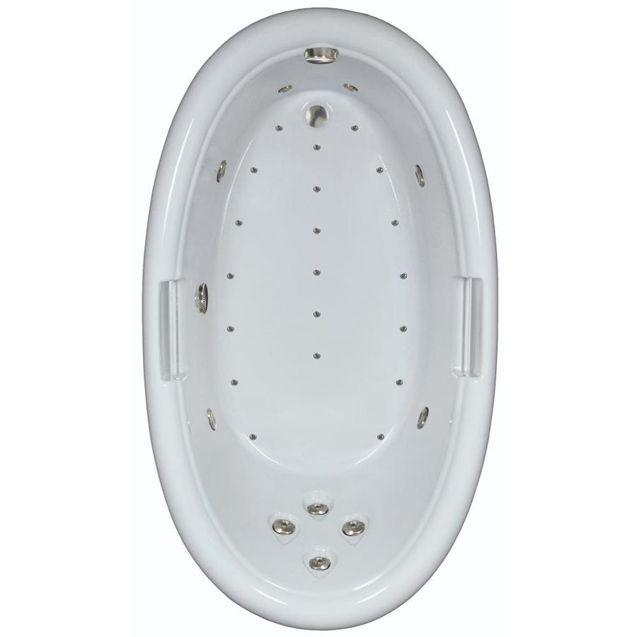 Watertech Whirlpool Baths Designer 72-in L x 42-in W x 22.25-in H Linen Acrylic Oval Drop-in Whirlpool Tub and Air Bath