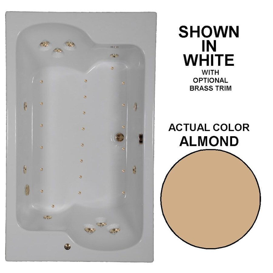 Watertech Whirlpool Baths Designer 72-in L x 43-in W x 24.5-in H 2-Person Almond Acrylic Rectangular Drop-in Whirlpool Tub and Air Bath