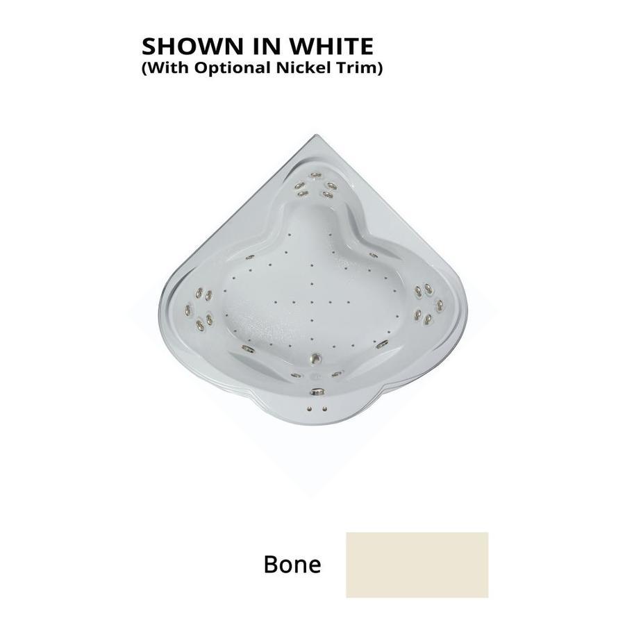 Watertech Whirlpool Baths Designer 62-in L x 62-in W x 24-in H 3-Person Bone Acrylic Corner Drop-in Whirlpool Tub and Air Bath