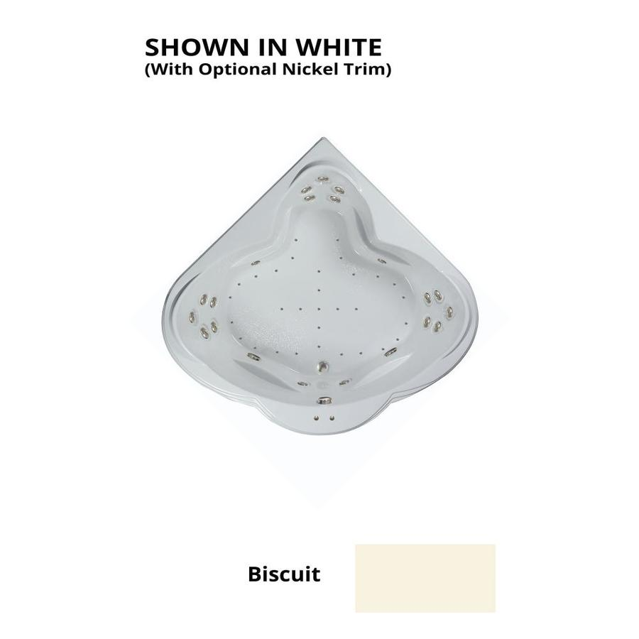 Watertech Whirlpool Baths Designer 62-in L x 62-in W x 24-in H 3-Person Biscuit Acrylic Corner Drop-in Whirlpool Tub and Air Bath