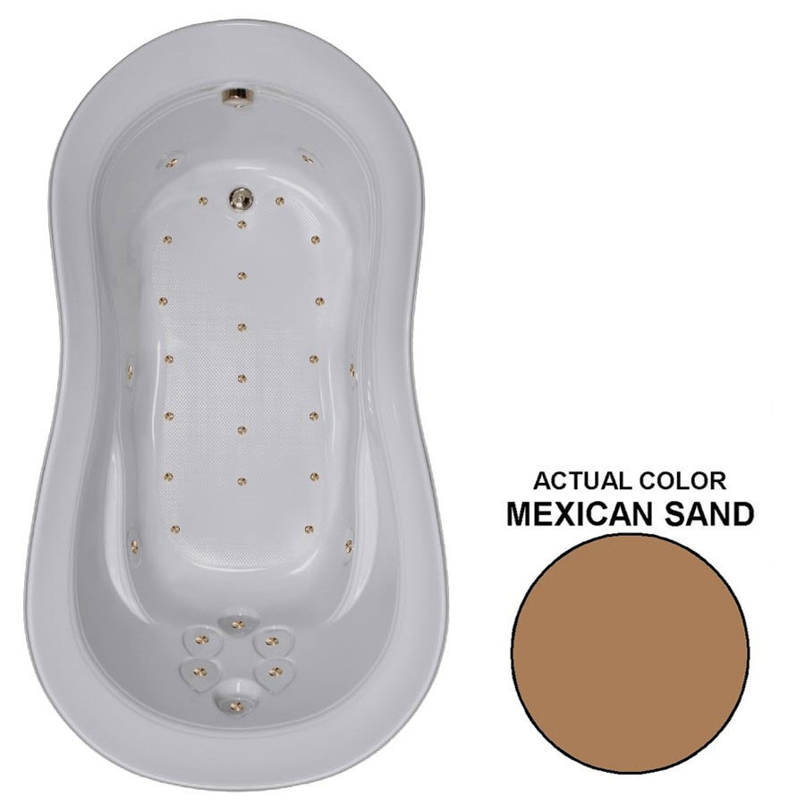 Watertech Whirlpool Baths 74-in L x 41-in W x 26.5-in H Mexican Sand Acrylic Hourglass Drop-in Air Bath